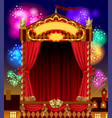 puppet show booth with theater masks red curtain vector image vector image