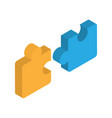 puzzle isometric icon teamwork cooperation leader vector image