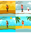 sad lonely girl multiple season scene graphic vector image