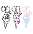 scissors and needles for sewing vector image vector image