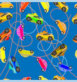 seamless background of childrens cars vector image
