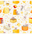 seamless pattern sliced cheese and mice in cartoon vector image