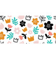 seamless pattern with decorative flowers crowns vector image vector image