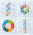 set 4 infographic templates with 6 options vector image vector image