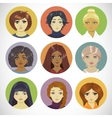 Set of Circle Female Icons vector image