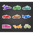 Set of sticky stickers transport color pictograms vector image