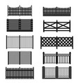 silhouette black fence icon set vector image