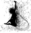 Silhouette of a Jumping Girl Surronded by Music vector image vector image