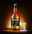 single malt whiskey drink ads design realistic vector image vector image