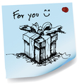Sketch drawing of gift on sticky paper vector image