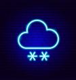 snowy cloud snowflake neon sign vector image vector image