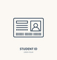 student access card identity flat line vector image
