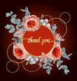 thank you card with eucalyptus flowers and pink vector image vector image