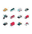 Transport car truck vehicles isometric icons set