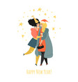 two lovely girls are celebrating new year vector image vector image