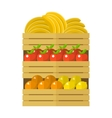 Wooden box with fruits vector image