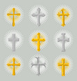 golden and silver church cross icon set vector image