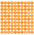 100 restaurant icons set orange vector image vector image