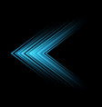 abstract blue light arrow speed direction on black vector image vector image