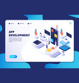 app development concept developer designer work vector image vector image