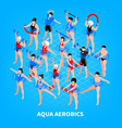 aqua aerobics isometric composition vector image
