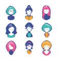 avatars or icons women retro cartoon style vector image vector image