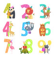 birtday numbers animals party fun invitation for vector image
