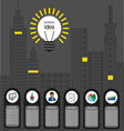 Business idea design with bulb and city buildings vector image vector image