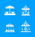 carousel carnival horse icons set simple style vector image