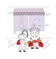 cartoon couple shopping vector image vector image