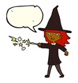 cartoon witch girl casting spell with speech vector image