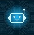 chat bot face icon smiling robot over blue circuit vector image vector image