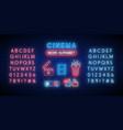 cinema and alphabet neon sign set glowing neon vector image vector image