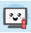 computer and usb icon Kawaii and technology vector image vector image