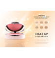 cosmetic ads 3d cheek blush or make up promotion vector image