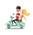 Couple riding scooter cartoon vector image vector image