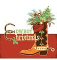 Cowboy christmas boot vector image