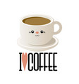 cute with a cup of coffee in kavai style vector image vector image