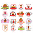fast food restaurant cafe and pizzeria badge vector image vector image