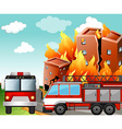 Fire trucks at the fire scene vector image vector image