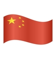 Flag of China waving on white background vector image vector image