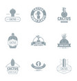 green cactus logo set simple style vector image