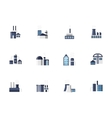 Industry and factories flat color icons vector image