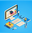 isometric online teaching internet classroom vector image