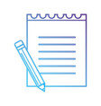line paper notebook with pencil tool vector image vector image