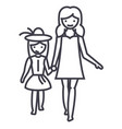 mother with daughter on vacation line icon vector image vector image