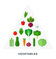 pyramid vegetables flat isolated vector image