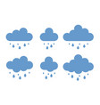 rain weather icon set cloud in trendy flat style vector image