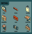 retail color outline isometric icons vector image vector image
