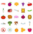 rural economy icons set cartoon style vector image vector image